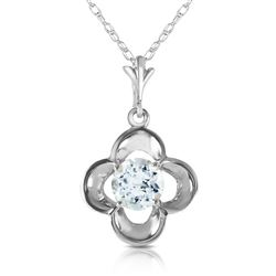 ALARRI 0.55 CTW 14K Solid White Gold It Ain't Over Aquamarine Necklace