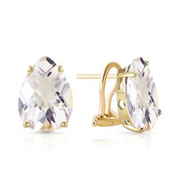ALARRI 10 CTW 14K Solid Gold French Clips Earrings Natural White Topaz