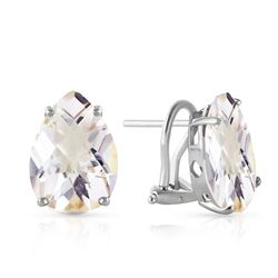 ALARRI 10 Carat 14K Solid White Gold French Clips Earrings Natural White Topaz