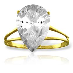 ALARRI 5 Carat 14K Solid Gold Ring Natural White Topaz