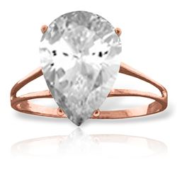 ALARRI 5 Carat 14K Solid Rose Gold Ring Natural White Topaz
