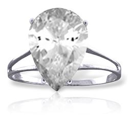 ALARRI 5 CTW 14K Solid White Gold Ring Natural White Topaz