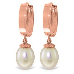 ALARRI 8 CTW 14K Solid Rose Gold Pearl Drop Hoop Earrings