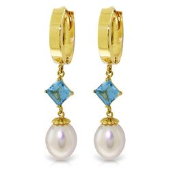 ALARRI 9.5 Carat 14K Solid Gold Hoop Earrings Natural Pearl Blue Topaz