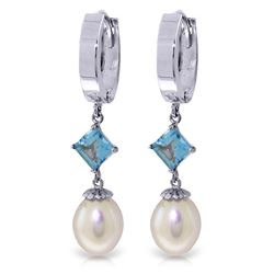 ALARRI 9.5 Carat 14K Solid White Gold Hoop Earrings Natural Pearl Blue Topaz