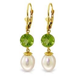 ALARRI 11.1 Carat 14K Solid Gold Palm Frond Peridot Pearl Earrings