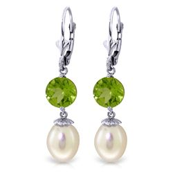 ALARRI 11.1 CTW 14K Solid White Gold Call Of Love Pearl Peridot Earrings