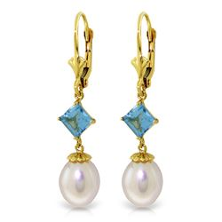 ALARRI 9.5 CTW 14K Solid Gold Blue Daffodil Blue Topaz Pearl Earrings