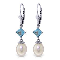 ALARRI 9.5 CTW 14K Whte Gold Measure Your Love Pearl Blue Topaz Earrings