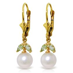 ALARRI 4.4 Carat 14K Solid Gold Wild Lotus Peridot Pearl Earrings