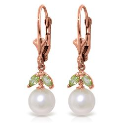 ALARRI 4.4 Carat 14K Solid Rose Gold Vibrance Pearl Peridot Earrings