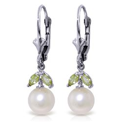 ALARRI 4.4 Carat 14K Solid White Gold Call Of The Wild Pearl Peridot Earrings