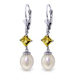 ALARRI 9.5 Carat 14K Whte Gold Eternal Value Pearl Citrine Earrings