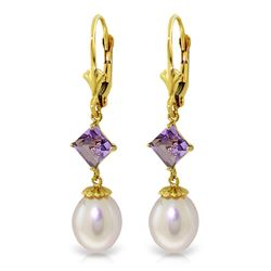 ALARRI 9.5 Carat 14K Solid Gold Neutra Amethyst Pearl Earrings