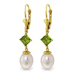 ALARRI 9.5 CTW 14K Solid Gold Spring Fever Peridot Pearl Earrings
