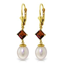ALARRI 9.5 Carat 14K Solid Gold Winter Tale Garnet Pearl Earrings