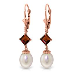 ALARRI 9.5 Carat 14K Solid Rose Gold Charisma Pearl Garnet Earrings