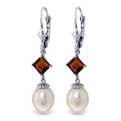 ALARRI 9.5 CTW 14K Solid White Gold Time Catcher Pearl Garnet Earrings