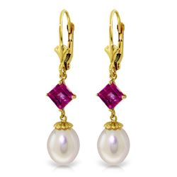 ALARRI 9.5 Carat 14K Solid Gold Summer Fling Pink Topaz Pearl Earrings