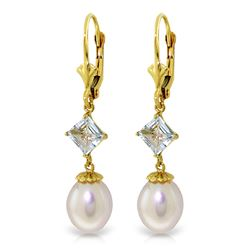 ALARRI 9.5 Carat 14K Solid Gold Love And Intrigue Aquamarine Pearl Earrings