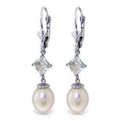 ALARRI 9.5 Carat 14K Whte Gold Bound By Memories Pearl Aquamarine Earrings