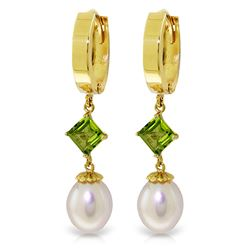 ALARRI 9.5 Carat 14K Solid Gold Hoop Earrings Natural Pearl Peridot