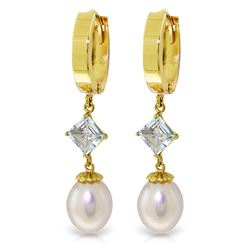 ALARRI 9.5 Carat 14K Solid Gold Hoop Earrings Natural Pearl Aquamarine