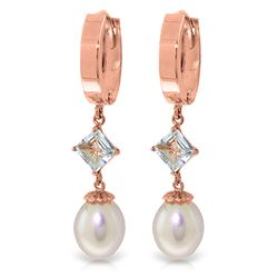 ALARRI 9.5 Carat 14K Solid Rose Gold Hoop Earrings Natural Pearl Aquamarine