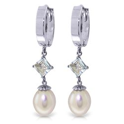 ALARRI 9.5 CTW 14K Solid White Gold Hoop Earrings Natural Pearl Aquamarine