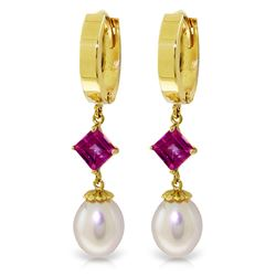 ALARRI 9.5 CTW 14K Solid Gold Hoop Earrings Natural Pearl Pink Topaz