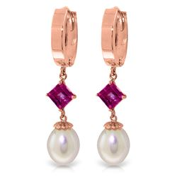 ALARRI 9.5 Carat 14K Solid Rose Gold Hoop Earrings Natural Pearl Pink Topaz