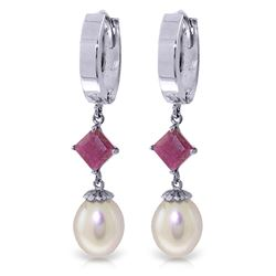ALARRI 9.5 Carat 14K Solid White Gold Hoop Earrings Natural Pearl Ruby