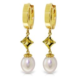 ALARRI 9.5 Carat 14K Solid Gold Hoop Earrings Natural Pearl Citrine