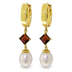 ALARRI 9.5 CTW 14K Solid Gold Hoop Earrings Natural Pearl Garnet