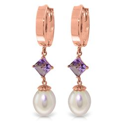 ALARRI 9.5 CTW 14K Solid Rose Gold Hoop Earrings Natural Pearl Amethyst