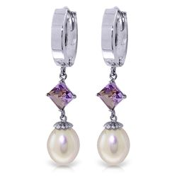 ALARRI 9.5 CTW 14K Solid White Gold Hoop Earrings Natural Pearl Amethyst