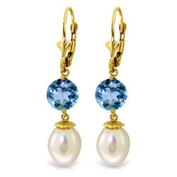 ALARRI 11.1 Carat 14K Solid Gold Blue Orchid Blue Topaz Pearl Earrings