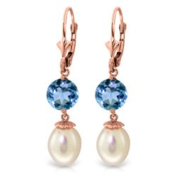 ALARRI 11.1 CTW 14K Solid Rose Gold Elegance Pearl Blue Topaz Earrings
