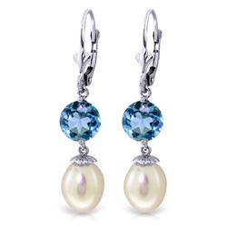ALARRI 11.1 CTW 14K Whte Gold Nirvana Pearl Blue Topaz Earrings