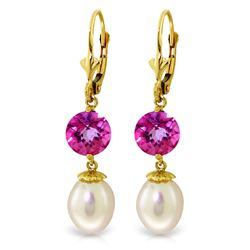 ALARRI 11.1 CTW 14K Solid Gold Breezy Afternoon Pink Topaz Pearl Earrings