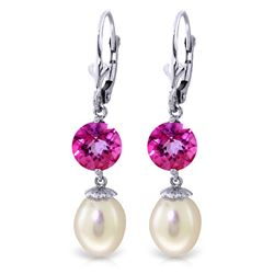 ALARRI 11.1 Carat 14K Solid White Gold Take Responsibility Pearl Pink Topaz Earrings