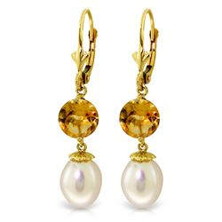 ALARRI 11.1 Carat 14K Solid Gold Sun Kissed Citrine Pearl Earrings