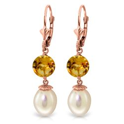 ALARRI 11.1 Carat 14K Solid Rose Gold Elegance Pearl Citrine Earrings