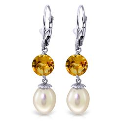 ALARRI 11.1 CTW 14K Whte Gold Running Ahead Pearl Citrine Earrings