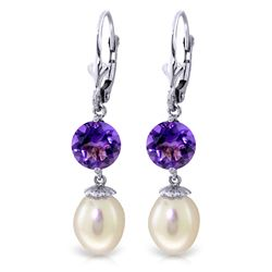 ALARRI 11.1 Carat 14K Solid White Gold Head Over Heels Pearl Amethyst Earrings