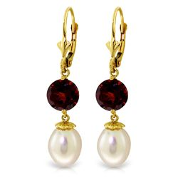 ALARRI 11.1 Carat 14K Solid Gold Captured Moment Garnet Pearl Earrings