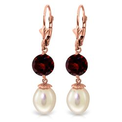 ALARRI 11.1 Carat 14K Solid Rose Gold Elegance Pearl Garnet Earrings