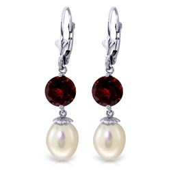 ALARRI 11.1 Carat 14K Solid White Gold Change For Better Pearl Garnet Earrings