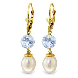 ALARRI 11.1 Carat 14K Solid Gold Say Yes Aquamarine Pearl Earrings