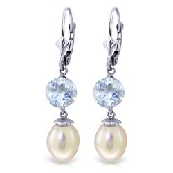 ALARRI 11.1 Carat 14K Whte Gold Heading Towards Pearl Aquamarine Earrings